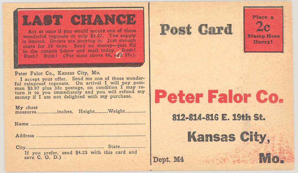 Peter Falor Postcard Back